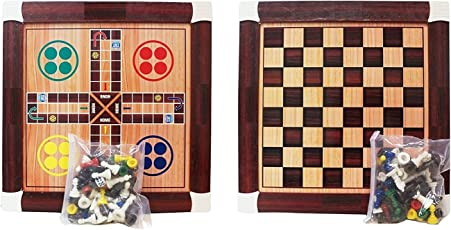 Samaira Wooden Chess and Ludo Board Game (2 in 1 Game)