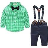 4 Piezas de Ropa para Niño Conjunto de Ropa para Bebé Camisa de Manga Larga + Pantalón + Pajarita + Tirantes Niño Caballero d
