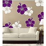 Kayra Decor Plastic Sheet Hibicus Everywhere Reusable Wall Stencil, 16x24-inches (Multicolour)