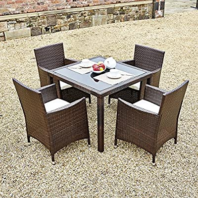 New 5 Piece Rattan Dining Table For Conservatory, Patio, Garden Furniture - low-cost UK dining table store.