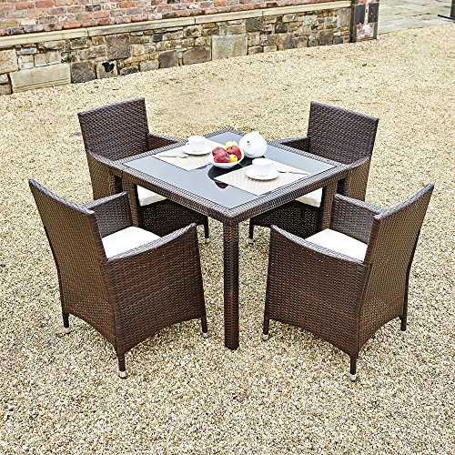 new-5-piece-rattan-dining-table-for-conservatory-patio-garden-furniture-brown