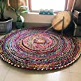 Jai Shri Shyam Solid Contemporary Rug (Multicolour, Cotton, 90 X 90 Cm)