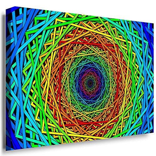 Julia-art Leinwandbilder - Optische Täuschungen, Spirale Abstrakt Bild 1 teilig - 120 mal 80 cm Leinwand auf Rahmen - sofort aufhängbar ! Wandbild XXL - Kunstdrucke QN.90-6