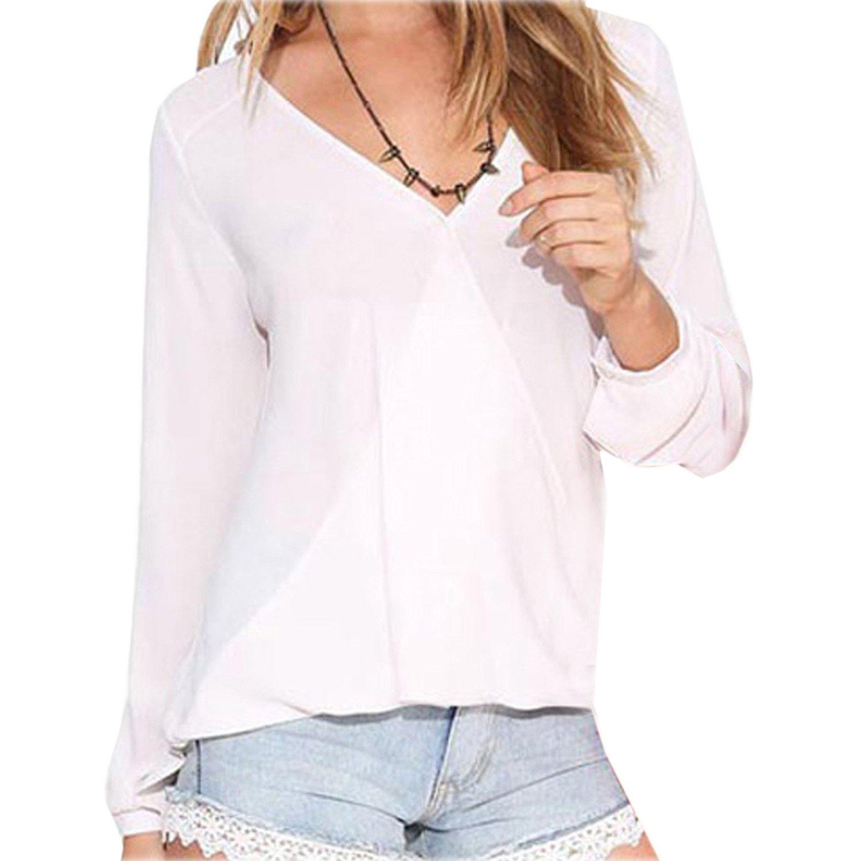 SODIAL(R) Camicia chiffona lunga del manicotto del V-collo sexy delle donne con la maglietta felpata