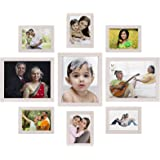 Amazon Brand - Solimo Collage Photo Frames, Set of 9,Wall Hanging (6 pcs - 15.5cm x 20.5cm, 3 pcs - 23 cm x 28 cm,),Cream