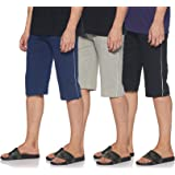 SOUTH SAILOR Mens Cotton 3/4 Shorts Side Pockets with Zip Pack of 3
