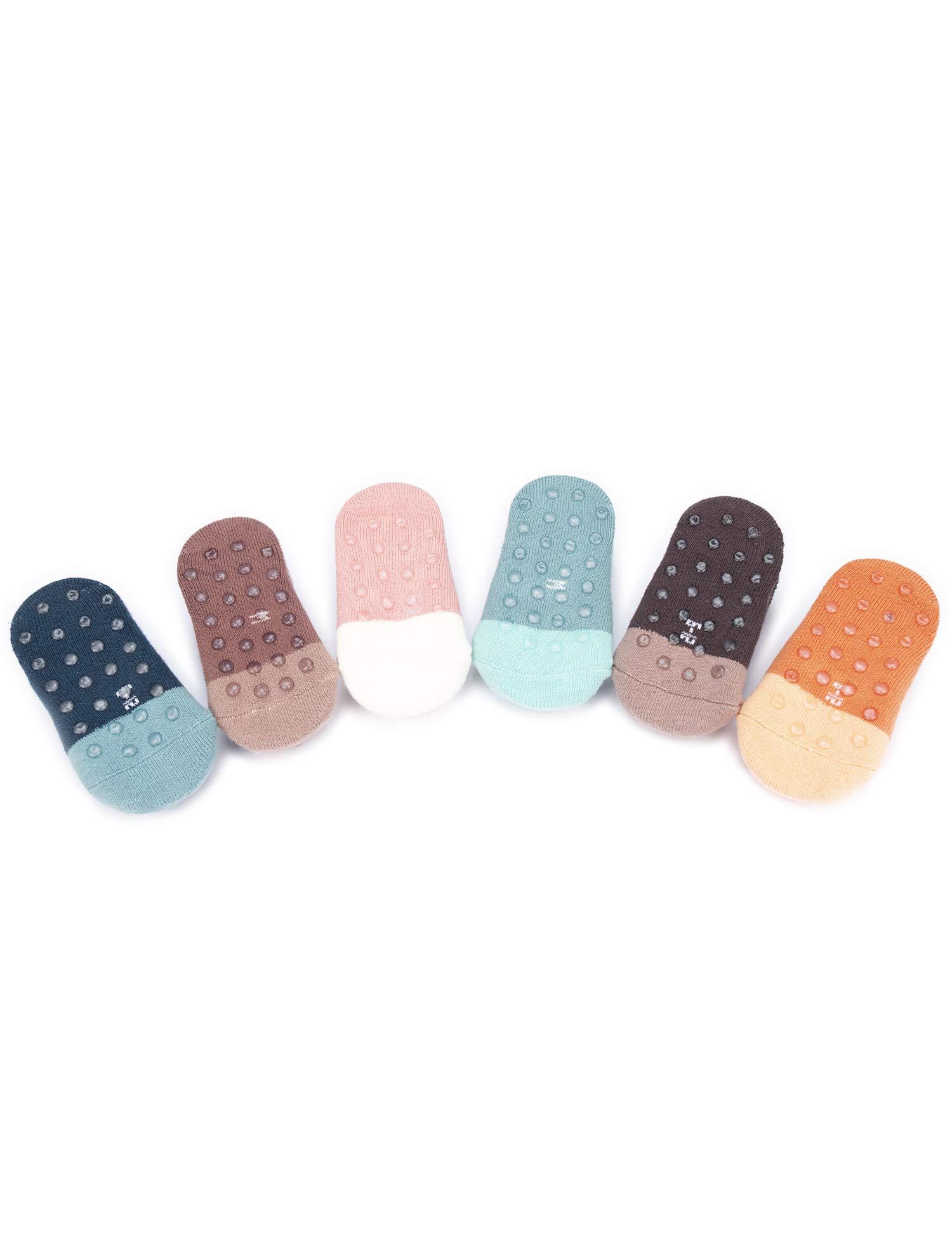 Adorel Calcetines Zapato Antideslizantes para Bebé Lote de 6 3