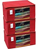 Kuber Industries 3 Piece Non Woven Saree Cover Set, Red,Large Size -CTKTC6432