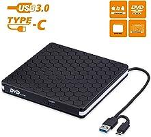 Externes CD DVD Laufwerk, Amicool USB 3.0 mit Type-C Portable DVD/CD Brenner und -Lesegerät/Plug&Play/niedriger...