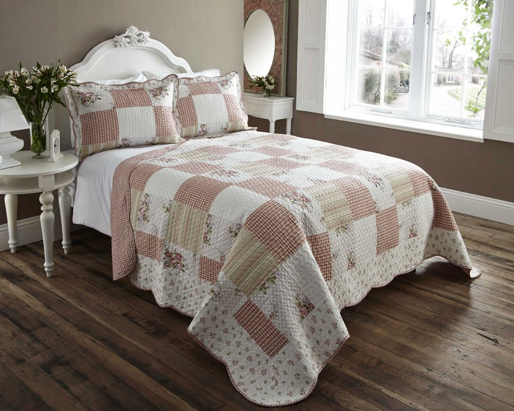 LIGHTWEIGHT COUNTRY COTTAGE PRINTED BED COVER THROW SET (double ...
