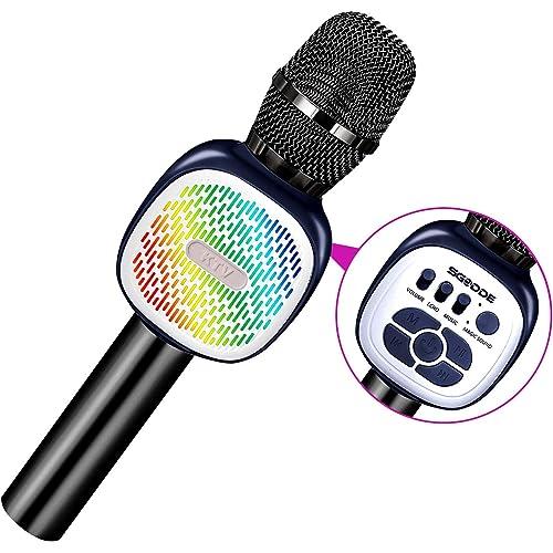 Microfono Karaoke Bluetooth Wireless, SGODDE Microfoni Wireless Karaoke Portatile con Luci LED Multicolore, Microfoni per Bambini con Altoparlante per Cantare, Compatibile con Android/iOS/PC (Nero)