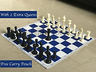 "Paramount 17""x 17"" Professional Vinyl Chess Set (Fide Standards)- with 2 Extra Queens/Carry Pouch, Blue"