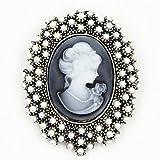 ZOOMY Wedding Party Queen Lady Vintage Diseño Victoriano Broche de Bronce de camafeo - Perla