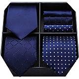 HISDERN Lotto 3 PCS Cravatta da uomo Polka Dot Check Stripe tinta unita Festa di nozze Fazzoletto Cravatta e fazzoletto - Set