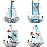 YIYA 4PCS Mini modèle de voilier décoration Nautique voilier décor pour Bureau Chambre Bureau décoration thème Nautique décor