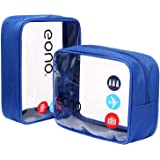 Amazon Brand - Eono Beauty Case da Viaggio Clear Borsa da Viaggio Impermeabile Cosmetici Trousse Trasparente Toiletry Bag Kit