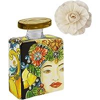 Maroc & Roll - Sicily Bottiglia Mini DIFFUSORE Profumo Ambiente in Porcellana con Fiore di Corteccia di GELSO 100ml - SBTMINI.B&R02