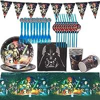 Star Wars Decoration, 72 pcs Kit Partie Star Wars Housse Nappe Couverture Happy Birthday Banner Sac De Star Wars pour…