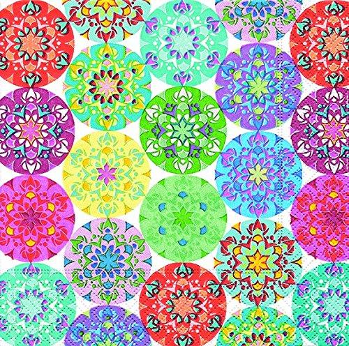 Servilletas (2 Juegos / 40 uds) 3 capas 33x33 cm Muestra Verano Mandalas (Mandala Multi)