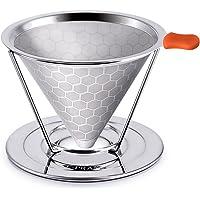 E-PRANCE Filtri Permanenti per Caffè in Acciaio Inox, Design del Favo Cono Caffè Dripper Senza Carta e Riutilizzabile…