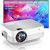 Proiettore Portatile Supporta 1080P Full HD Videoproiettore di film 6500 Lumens Home cinema Proiettore,Schermo proiezione inc