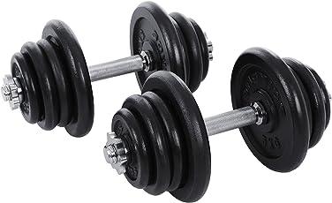 SONGMICS Gusseisen Kurzhantel Hanteln Stangen gerändelt mit Sternverschlüssen 2er Set 20kg 30 kg 40kg 50kg 60kg