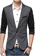 Menjestic Men's Slim Fit Designer Blazer with Grey Lapel Available in Black and Grey /3 Colors