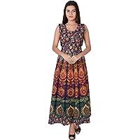 fashiongrape Women's Cotton Maxi Long Semi-Stitched Fabric Jaipuri Printed Maxi Dress, Free Size Upto XXL