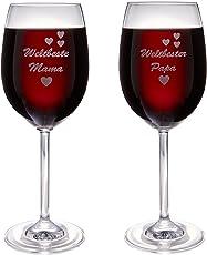 van Hoogen Leonardo Weinglas mit Gravur Weltbeste Mama oder Weltbester Papa | 365ml Premiumglas Rotwein Weißwein