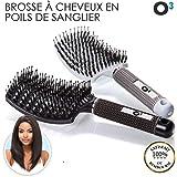 O³ 100 % naturliga vildsvinsborst hårborstar silver och svart