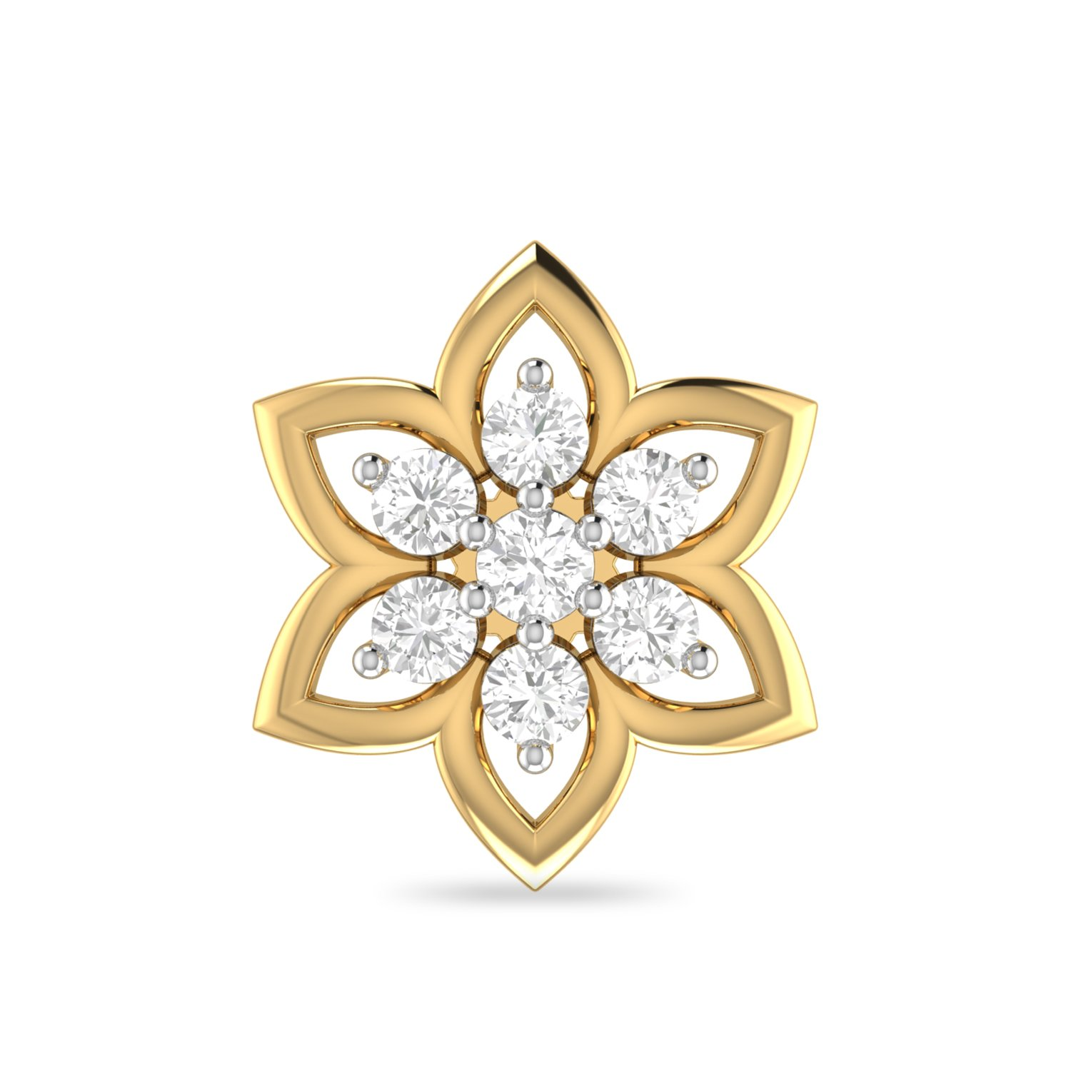 PC Jeweller The Eames 18KT Yellow Gold and Diamond Nose Pin for Women