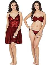 Klamotten Satin Women Nightwear and Bikini Set 221M-07 Maroon