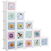 SONGMICS Meuble de Rangement Enfant 15 Cubes, Armoire modulable avec Portes, Étagère en Plastique, pour vêtements…