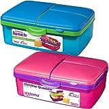 Sistema 1.5L 1.5 Litre 50.7oz Slimline Quaddie Lunchbox - Pink & Blue, Set of 2 - Phthalate & BPA Free.