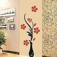 Decals Design 'Flowers with Vase' Wall Sticker (PVC Vinyl, 60 cm x 60 cm), Multicolour