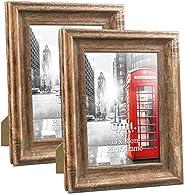 Umi. Essentials Cornici Foto per Formato 13x18 Stile Rustico da Parete e Tavolo, Confezione da 2, Marrone