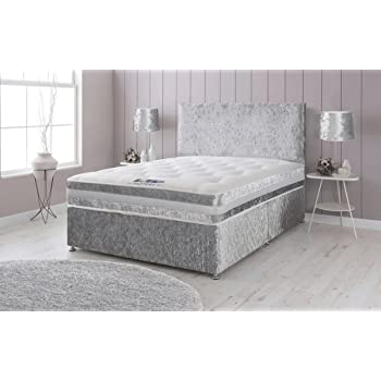 bbc2ad4bb03e Sleep Factory Ltd Crushed Velvet Divan Bed with Memory Foam Sprung Mattress  and Headboard – 4ft Small Double, Silver