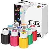 Stofffarben Textilfarben Acrylfarben Set Waschfest 9 Farben x 20 ml Stoffmalfarben Textilmalfarben Flüssig Wasserfest Waschma