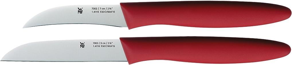 WMF Messerset 2-teilig Schälmesser Gemüsemesser Spezialklingenstahl Griffe aus Kunststoff rot