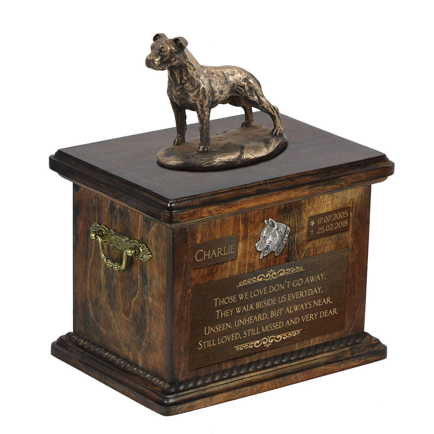 American Staffordshire Terrier uncropped, Urn for Dog Ashes Memorial with Statue, Pet's Name and Quote – ArtDog Personalized