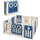 COSTWAY Grondbox baby, 12/14/16 HDPE paneel speelbox babybox, opvouwbare baby speelruimte met veiligheidsslot & educatief spe