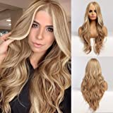 Piaou Ombre Blonde Wig for Women Long Natural Wave Synthetic Wigs Middle Part Heat Resistant Hair Cosplay Daily Party Wigs Na