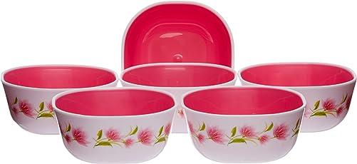 Nayasa Microwave Square Bowl Dlx Set, Set of 6, Pink