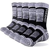 YUEDGE Men's 5 Pairs Wicking Breathable Cushion Comfortable Casual Crew Socks Multi Performance Trekking Walking Athletic Soc