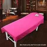 SUPEWOLD Housse de table de massage, drap de lit de massage, pour table de soins de SPA, de beauté, de cosmétique, avec trou pour le visage, drap-housse en tissu éponge, rose rouge, 80cmx190cm