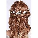 IYOU diadema nupcial con diseño de flores y perlas vides de pelo de hoja accesorios para el cabello de novia de boda para muj