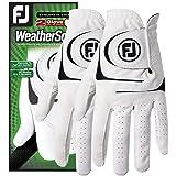 قفازات الجولف WeatherSof الرجالي من FootJoy، عبوة من قطعتين (أبيض)
