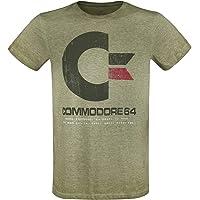 Commodore 64 C64 Logo - Vintage Uomo T-Shirt Verde Screziato Regular
