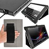 """iGadgitz U2431 PU Ledertasche Hülle und Displayschutzfolie Kompatibel mit Sony Xperia Z 10.1"""" Tablet - Schwarz"""