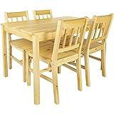 Merkell Table en pin avec 4 chaises en Bois Naturel Table a Manger Set pour Salon Cuisine terrasse, Table a Manger Classic Pi